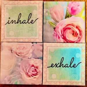 ZEN ROSE PICTURE SET of 4  NEW INHALE EXHALE